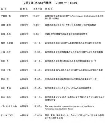 平成28年度水圏科学分野修士論文発表会